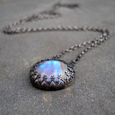 Moonstone and Sterling Silver Fire and Ice Necklace