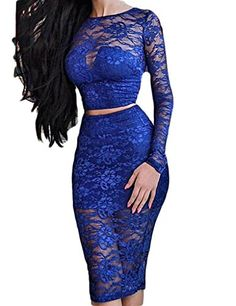 New Sexy Long Sleeve Floral Print Lace Nightclub Two Piece Dress