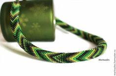 """Жгут """"Хвойный"""" (вариант №2) - зелёный,темно-зеленый,светло-зеленый,жгут из бисера"""