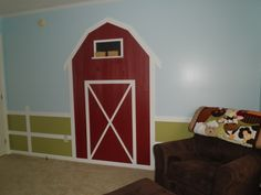 Like the paint - grass, sky, fence around the room. Also like the barn, but maybe a barn bookcase instead of painted on the wall.