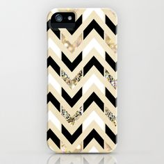 Black, White & Gold Glitter Herringbone Chevron on Nude Cream iPhone & iPod Case by Tangerine-Tane - $35.00