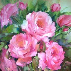 Rosas pink - Painting,  90x90 cm ©2007 por MALOU -  Pintura