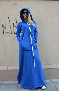 Blue Maxi Dress / Extravagant Hooded Dress / Long by SSDfashion