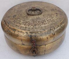 Rare Antique Vintage Handmade Designed Huge  Brass Chapati Box or Jewelry Box
