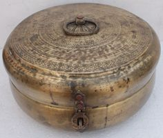 Rare Antique Vintage Handmade Designed Huge  Brass Chapati Box or Jewelry Box