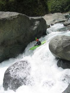 whitewater kayaking in a semi-extreme condition.