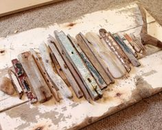 DIY driftwood wall decor on wood.