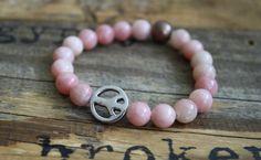 Pink peace sign for kids #peacesign #kids #kidsjewelry #accessories #kidsbracelets #mini #babybracelets #pink #gemstones #jewelry #little #kids #cute #obsessed