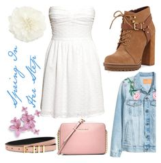 """""""Spring In Her Step"""" by amber-lanehart ❤ liked on Polyvore featuring H&M, BCBGeneration, MICHAEL Michael Kors, Sandro and Accessorize"""