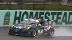 No. 68 TRG Porsche throws rooster tail of water at Homestead
