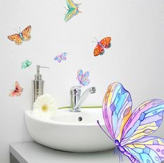 Watercolor Butterflies: This is a beautiful set of 9 lovely watercolor hand-painted butterfly individual decals, with a transparent background & high quality printing. The decals are made of clear, durable interior vinyl, have a nice matte finish, and remove easy from all surfaces. Are great for indoor use on on tiles, walls, furniture and home appliances.  → Available Product Sizes: • Size 1: 9 decals: 1,8x2,6 to 4,5-6,0 (4,5-6,5 cm to 11x15 cm) • Size 2: 9 decals: 2,4x3,5 to 6,3x8,3 (6...