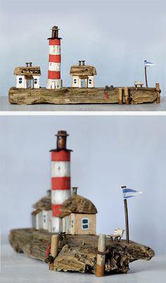 Christine Grandt - Treibholzkunst: maritime Geschenke, Design, Kunst, Art, Holz Skulptur Treibholz Haus Miniaturen