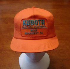 Vintage Kubota Bright Orange Snapback Hat by SouthParkVintage