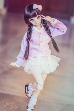Melocotón (custom Dollfie Dream Sister M.O.M.O.) | https://orchiddolls.wordpress.com/2014/12/20/yummy-fairy-kei/