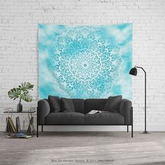 Blue Sky Mandala Wall Tapestry in White and Turquoise Blue by Kelly Dietrich
