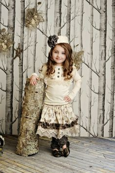 "Gingersnaps Kids Boutique - Persnickety ""Vintage Woodland"" Emily Skirt (sz 4 - 6x)"