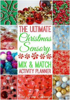 Christmas Sensory Fun + Free Mix and Match Sensory Activities Planner! Use our easy guide to create a unique sensory experience for your kids or students in seconds! {One Time Through} Christmas Activities For Kids, Preschool Christmas, Christmas Themes, Christmas Crafts, Sensory Bins, Sensory Activities, Learning Activities, Sensory Play, Kindergarten Sensory