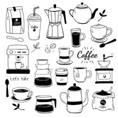 Cafe and coffee house pattern vector Fre. Coffee Shop Logo, Coffee Cafe, Cafe Icon, Coffee Doodle, Cafe Logo, Doodle Art Journals, Coffee Illustration, Coffee Design, Tampons