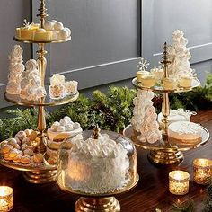Tiered servers and domed cake stand - gold tones & glass, tea candles, and fresh evergreens - Let your holiday dessert buffet shine Cake Table, Dessert Table, Silver Christmas Decorations, Holiday Decor, Single Tier Cake, Tiered Server, Beverage Tub, Food Displays, Decoration Table