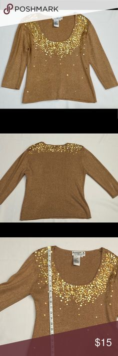 Joseph A Gold Metallic Silk Sequin Sweater Pre-owned Joseph A gold metallic sweater with gold sequins. 82% Silk, 18% Metallic.   *there is a flaw/Rip in hen at left back collar that has been repaired.   See photos for flaw and measurements.   F24 Joseph A Sweaters Crew & Scoop Necks