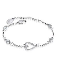 Silver Heart Charm Bracelet Made With SWAROVSKI ELEMENTS #zulily #zulilyfinds