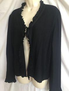 0160816 St John Collection Ruffle Trim Cardigan Black L long Sleeve Sweater Top #StJohn #Cardigan
