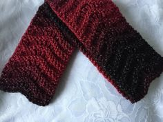 Hand Knitted  Chunky Red and Black  Ombre Scarf,  £6.99