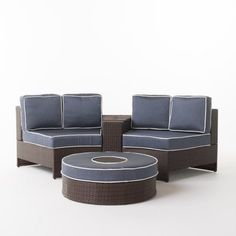 Riviera Positano Wicker 4 Piece Semicircular Sectional Sofa Seating Set with Cushions with Ice Bucket Ottoman, Navy, Navyblue Leather Sectional Sofas, Umbrella Holder, Sofa Seats, Outdoor Furniture Sets, Outdoor Decor, Wicker, Ottoman, Cushions, Positano