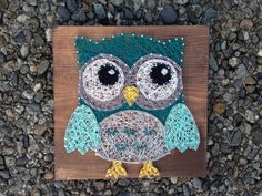 Owl String Art Custom Made to Order by StudioKR on Etsy Diy Arts And Crafts, Wood Crafts, Arte Linear, Nail String Art, String Art Patterns, Owl Patterns, Wire Art, Pattern Art, Canvas Wall Art