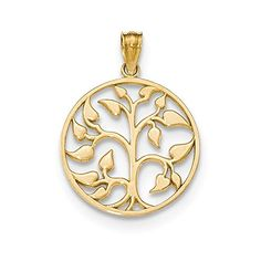 "14k Yellow Gold Polished Cut-Out Tree Of Life Round Pendant on a Carded Rope Chain Necklace, 18"" *** For more information, visit image link."