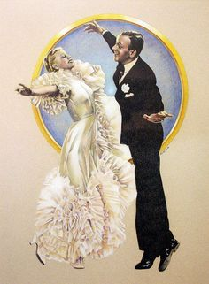 """Fred Astaire & Ginger Rogers in """"Swing Time"""", coloured pencil by Chuck Rose. Tap Dance, Dance Art, Just Dance, Ballroom Dance, Hollywood Stars, Classic Hollywood, Old Hollywood, Gene Kelly, Fred Astaire"""