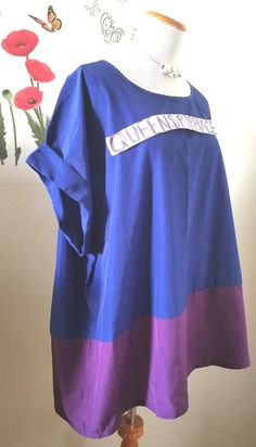 Faded Glory Women's Plus Size Purple Blue Colorblock Short Sleeve Shirt Top 3X #FadedGlory #Tunic #CareerCasual