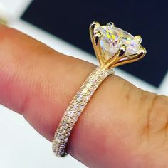 Check this moissanite engagement ring. This rose engagement ring dazzles under the light and makes an extra special statement based on Bridal Jewelry Sets, Bridal Rings, Wedding Jewelry, Dream Engagement Rings, Ring Verlobung, Solitaire Ring, Diamond Wedding Rings, Halo Diamond, Moissanite Rings
