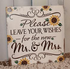 Items similar to Guest Book/Please Leave Your Wishes For the New MR and MRS/Wedding Sign/Sunflower/Vineyard/Rustic/Autumn Wedding on Etsy – The Best Ideas Daisy Wedding, Mr And Mrs Wedding, Trendy Wedding, Fall Wedding, Rustic Wedding, Our Wedding, Wedding Flowers, Dream Wedding, Rustic Sunflower Weddings