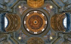 Sant'Agnese_in_Agone_(Rome)_-_Dome_interior_.View into frescoed cupola and pendentives; apse on left, entrance with organ and tomb of Pope Innocent X on right Baroque Architecture, Western Art, Walking Tour, 17th Century, Entrance, City Photo, Tours, Italy, Interior