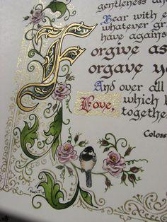 Calligrafia illuminata fatte su ordinazione  di angelworx su Etsy