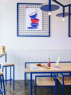 The Interior Of This New Restaurant Uses Asian Pop Culture References is part of - RainvilleSangaré has collaborated with Studio Beau to design 'Maneki Comptoir Asiat,' a new modern restaurant in Montreal, Canada Design Bar Restaurant, Deco Restaurant, Noodle Restaurant, Lisbon Restaurant, Restaurant Specials, White Restaurant, Restaurant Marketing, Restaurant Lighting, Restaurant Interior Design