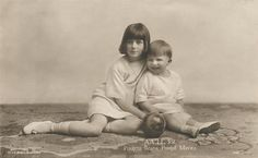 Devoted Siblings by Princess Ileana of Romania and her younger brother Prince Mircea, children of Queen Maria and King Ferdinand of Romania. Sadly, Mircea only lived to be 3 years old; he lived from Ileana lived from 1909 to Princess Alexandra, Princess Beatrice, Prince And Princess, Queen Victoria Descendants, Princess Victoria, Romanian Royal Family, Royal Beauty, Young Prince, Rare Pictures