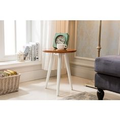 Marcella Paint-dipped Round Spindle Tray-top Side Table by MID-CENTURY LIVING - 18534802 - Overstock.com Shopping - Great Deals on Mid-Century Living Coffee, Sofa & End Tables