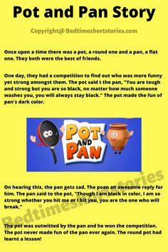 This is an amazing kids funny story that of a Pot and Pan. Full story in link above, read now. English Stories For Kids, Short Stories For Kids, English Story, Short Funny Stories, Funny Stories To Tell, Funny Kids, How To Find Out, Competition, Best Friends