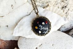 Red and black necklace Black Pendant Necklace, polymer clay jewelry by LandOfJewellery