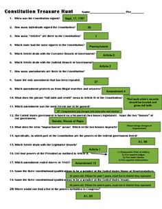 Constitution Lesson Scavenger Hunt: Perfect Supplement for ...