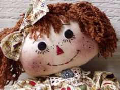 Primitive Doll Raggedy Annie with bowl of apples and pears  $39.95