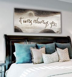 The Rise Of Master Bedroom Wall Decor Above Bed Rustic 66 Diy Home Decor For Apartments, Diy Home Decor Bedroom, Bedroom Decor For Couples, Bedroom Beach, Bedroom Ideas, Bedroom Signs, Comfy Bedroom, Decor Room, Trendy Bedroom