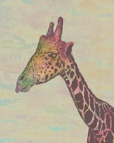 """Giraffe In Technicolor"" by ElphantTrunkStudio  http://inaskywithdiamonds.tumblr.com/post/30511746217/fuckyeahpsychedelics-giraffe-in-technicolor#"