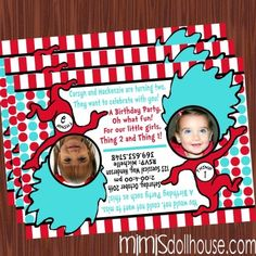 http://mimisdollhouse.com/product/thing-1-and-thing-2-invitation-2/ The Thing 1 and Thing 2 invitation is personalized to include Name, Age, Date, Time, Location, and RSVP and photo (optional).  The Thing 1 and Thing 2 invitation is available in printable JPED and PDF formats.  #Thing1andThing2 #DrSeuss #Thing1andThing2Invitation #Thing1andThing2Party #BirthdayParty