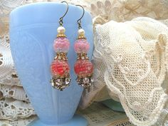 vintage glass berry earrings assemblage red pink by lilyofthevally