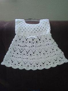 Dress Crochet very elegant with step-by-step Pattern facilities. Simple crochet very elegant Dress with step-by-step pattern facilities. Crochet Baby Blanket Beginner, Crochet Baby Dress Pattern, Baby Dress Patterns, Baby Girl Crochet, Easy Crochet, Baby Knitting, Crochet Patterns, Crochet Yoke, Pattern Dress