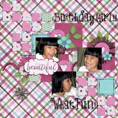 Hope sure loves her birthday celebrations!!  She's such a cutie.   I used Little Miss Page kit from Luv Ewe Designs found here:  http://www.gottapixel.net/store/product.php?productid=10014779&cat=0&page=1 and a template from Seatrout Scraps Turn The Clock Back Part 2 found here:  http://www.gottapixel.net/store/product.php?productid=10014718&cat=0&page=1