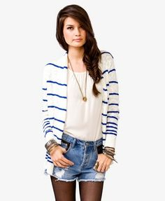 Open Front Striped Sweater | FOREVER21 - 2021839354